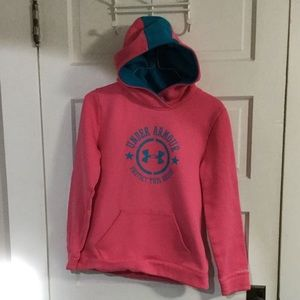 Under Armour Hoodie Pink with Blue Girls Large
